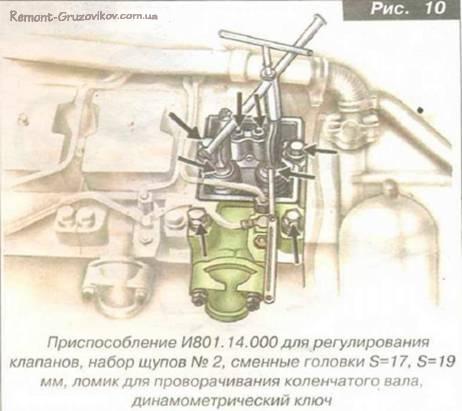 Регулировка зазоров клапанов механизма газораспределения на Камазе