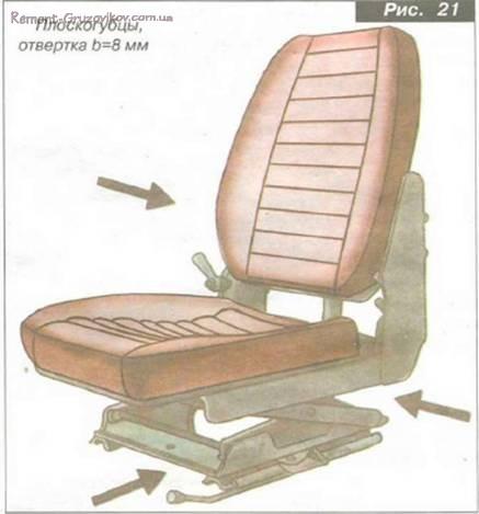 Проверка механизма подрессоривания сиденья водителя
